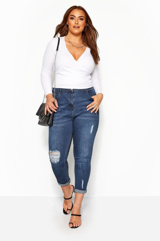 Plus Size Boyfriend Jeans Mid Blue Distressed Mom Jeans