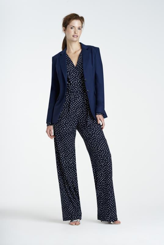 Navy Clean Sharp Longline Suit Jacket