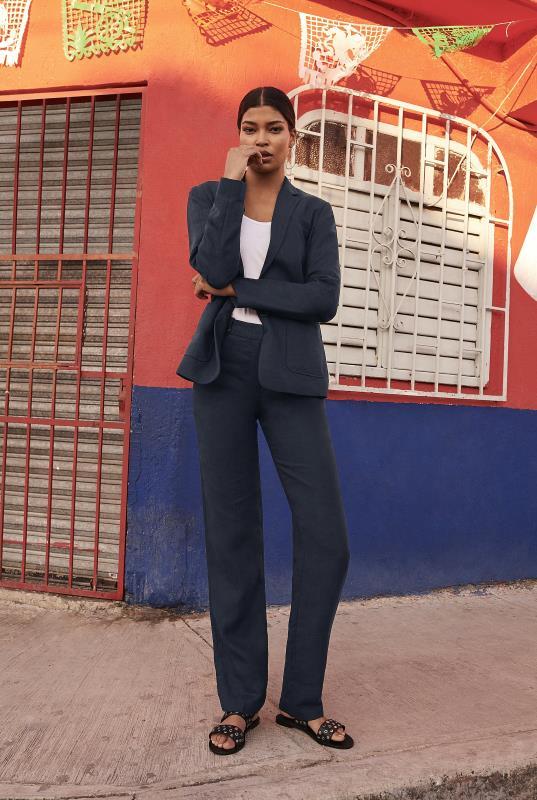 Navy Linen Suit Jacket