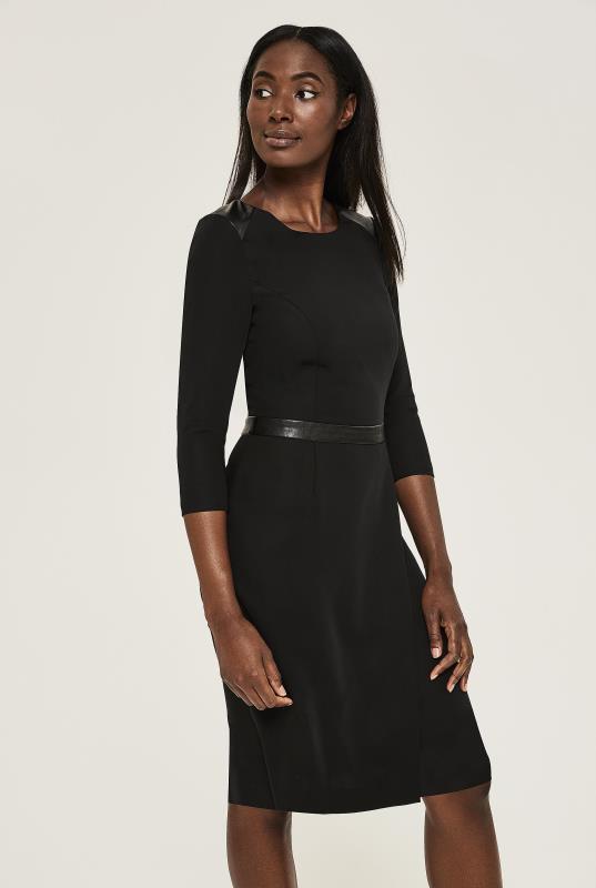 Black Evening Suit Dress with PU Trim