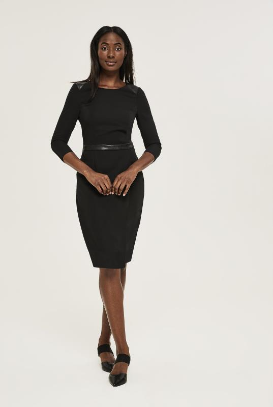 Black Evening Suit Dress with PU Trim