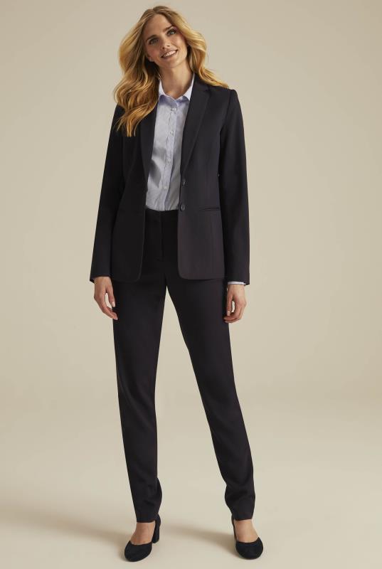 Navy Textured Longline Suit Jacket