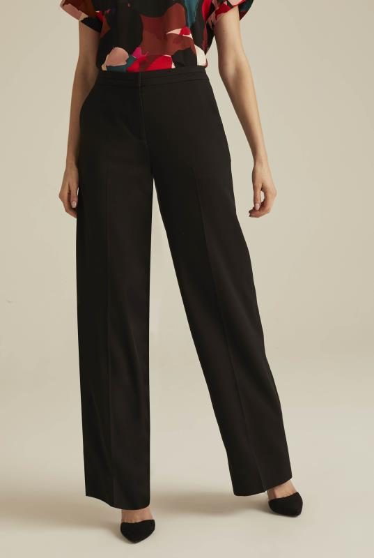 Black Textured Wide Leg Trouser