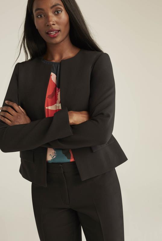 Black Collarless Modern Suit Jacket