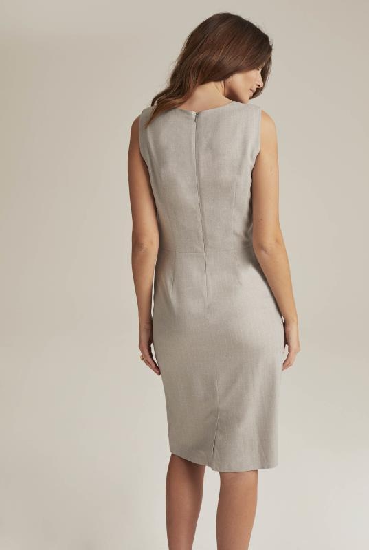 Grey Tailored Sleeveless Suit Shift Dress