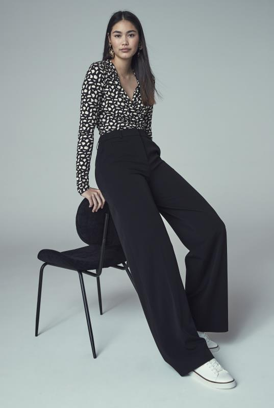 Tall Trousers Black Wide Leg Suit Trouser