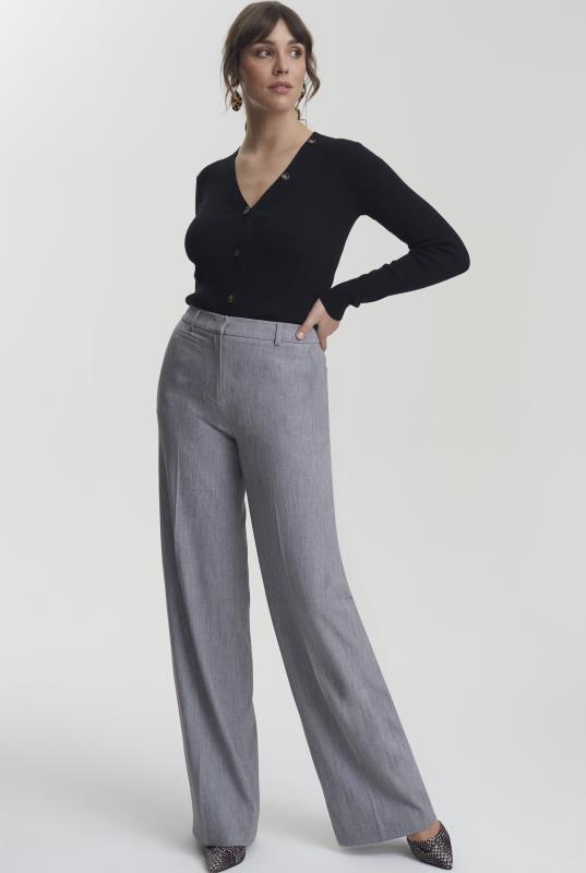 Grey Wide Leg Suit Trouser