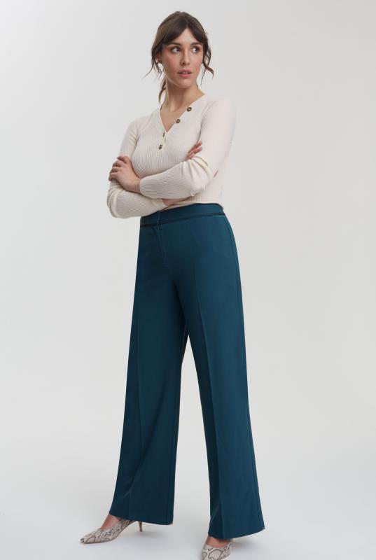 Teal Trim Textured Wide Leg Suit Trouser