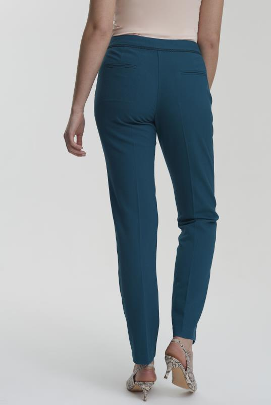 Teal Trim Textured Slim Leg Suit Trouser