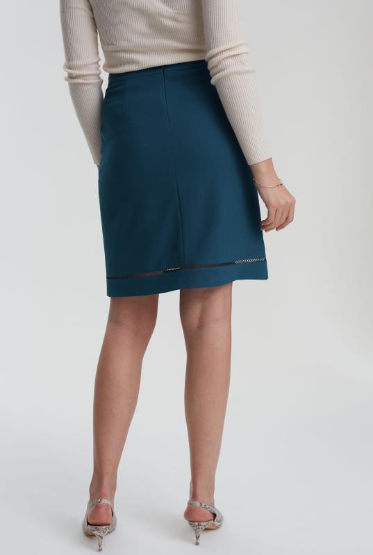 Teal Trim Textured Suit Skirt
