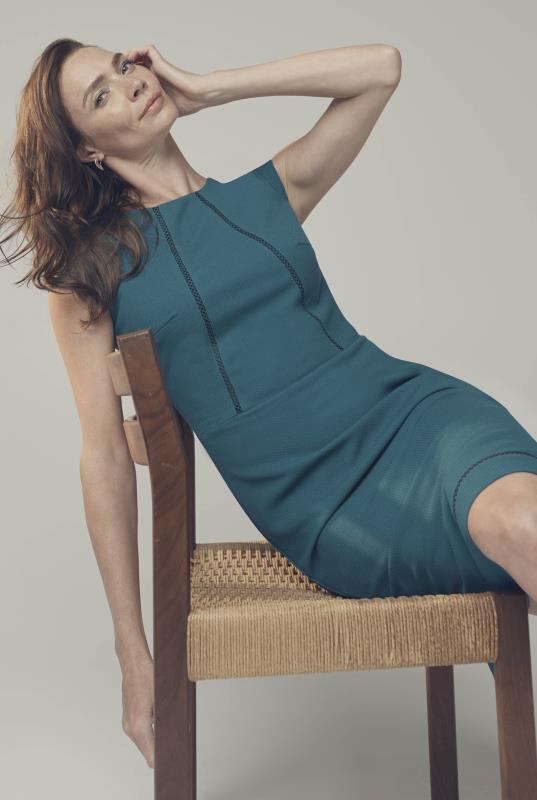 Tall Dresses Teal Trim Textured Suit Dress