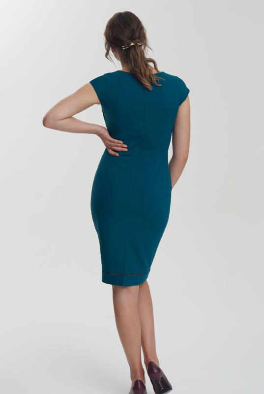 Teal Textured Trim Suit Dress