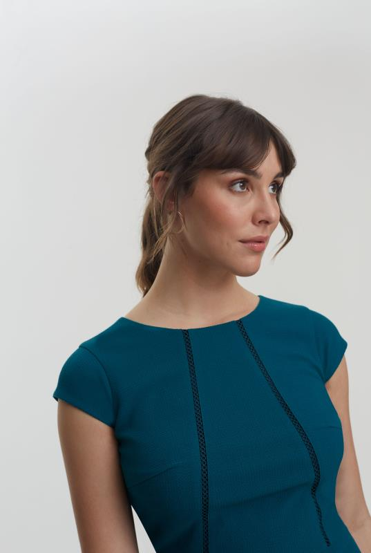 Teal Textured Trim Suit Dress