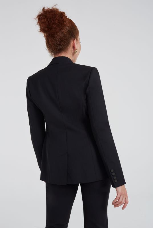 Black Premium Wool Blend 2 Button Jacket