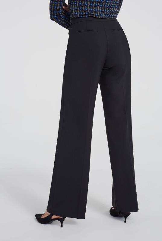 Black Premium Wool Blend Wide Leg Suit Trouser