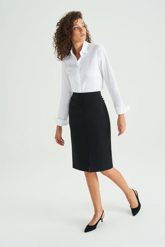 Tall Skirts Black Wool Blend Pencil Skirt