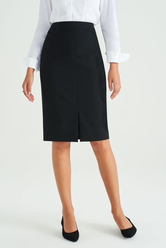 Black Wool Blend Pencil Skirt