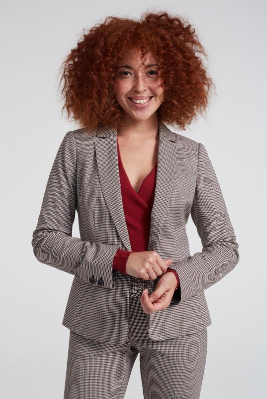 Beige Mini Check Suit Jacket