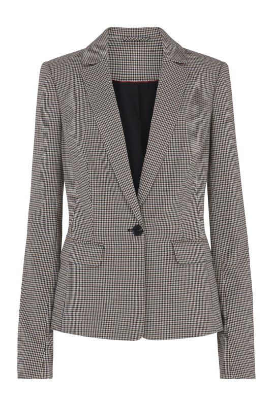 Beige Mini Check Suit Jacket
