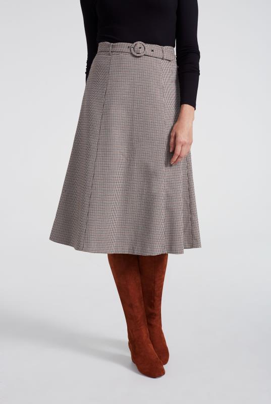 Mini Check Flared Suit Skirt