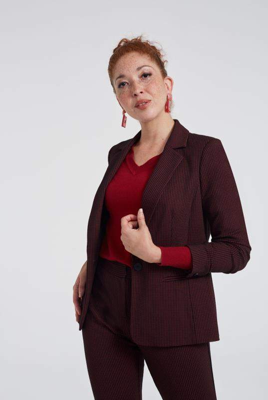 Red Ponte Stretch Mini Check Suit Jacket