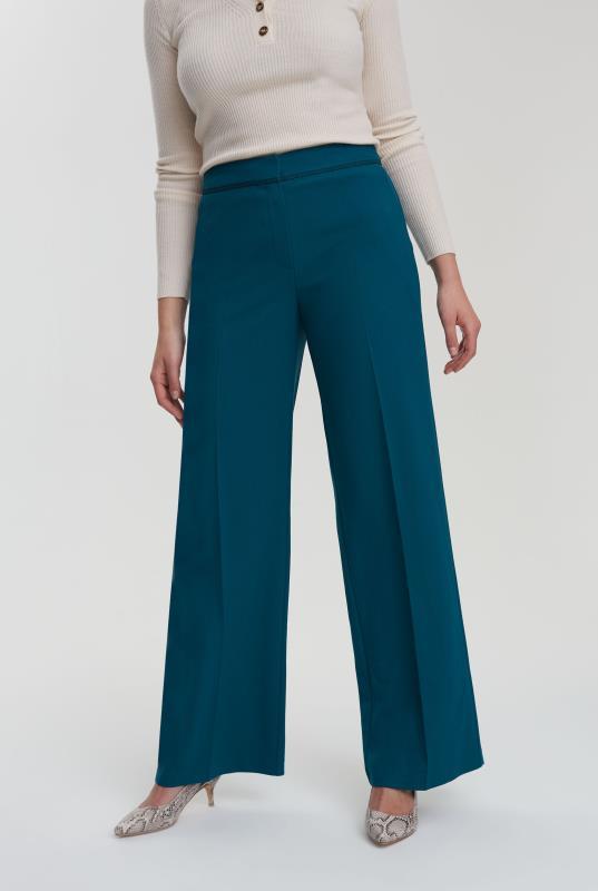 Teal Trim Textured Wide Leg Suit Pant_2.jpg