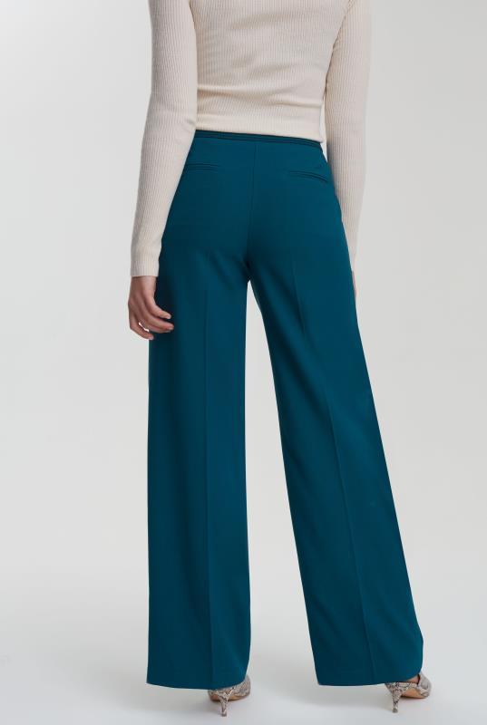 Teal Trim Textured Wide Leg Suit Pant_3.jpg