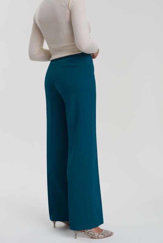Teal Trim Textured Wide Leg Suit Pant_4.jpg