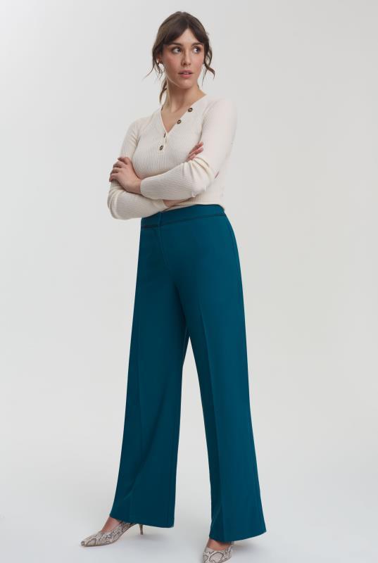Teal Trim Textured Wide Leg Suit Pant_5.jpg