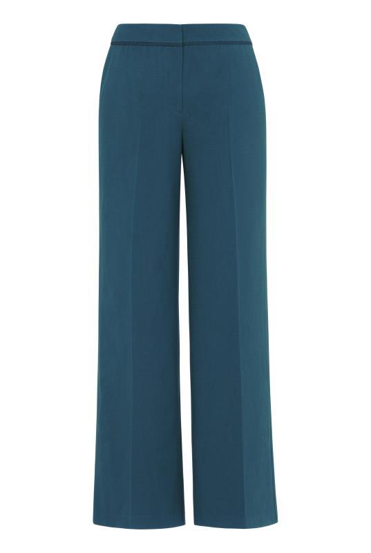 Teal Trim Textured Wide Leg Suit Pant_6.jpg