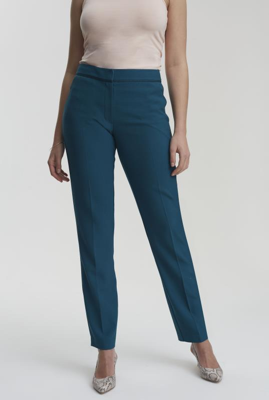 Teal Trim Textured Slim Leg Suit Pant