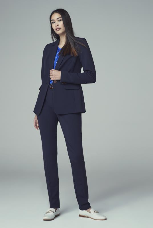 Navy Longline Ponte Suit Jacket