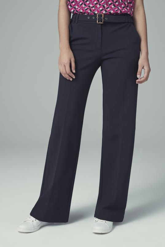 Navy Ponte Wide Leg Suit Trouser