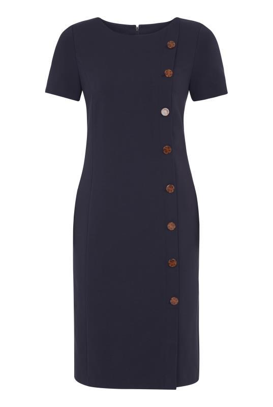 Navy Button Detail Ponte Suit Dress