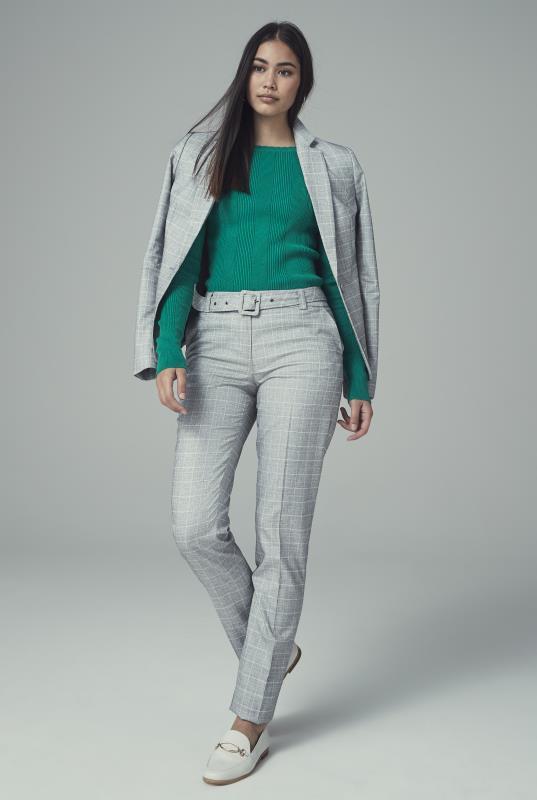 Grey Check Slim Leg Suit Trouser