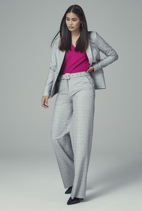Grey Check Wide Leg Suit Trouser