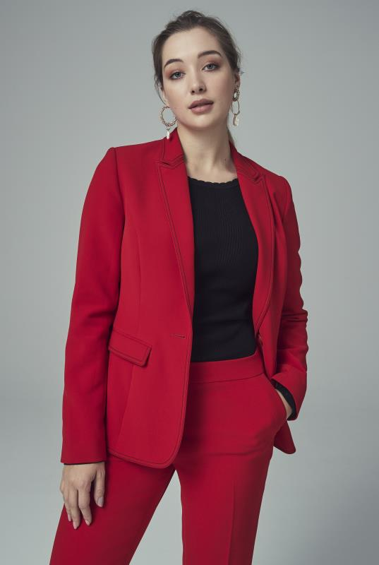 Red Contrast Stitch Suit Jacket