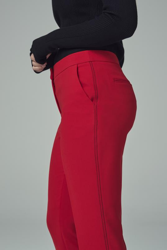 Red Contrast Stitch Slim Leg Suit Trousers