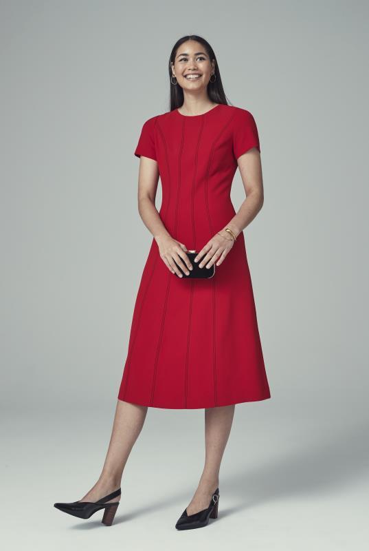 Red Contrast Stitch Suit Dress