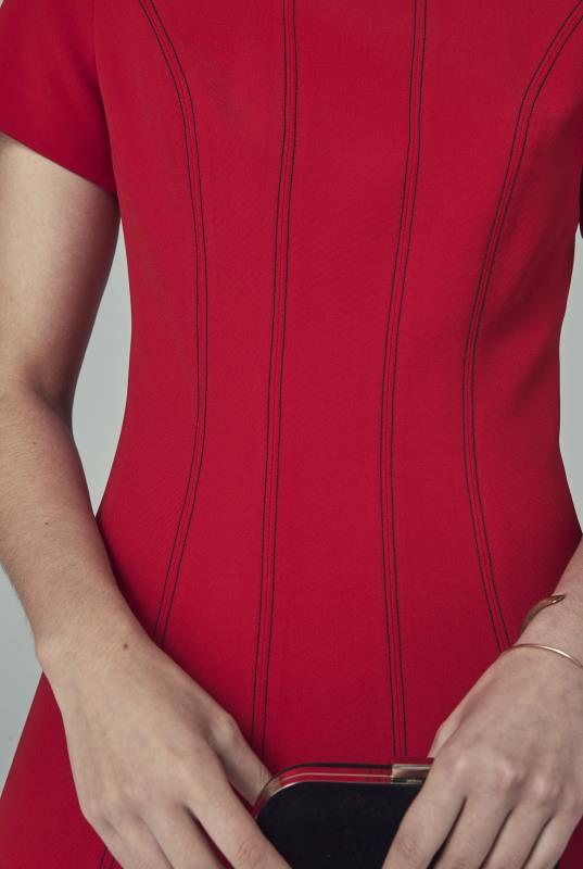 Red Contrast Stitch Suit Dress