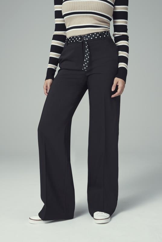 Tall Trousers Black Cotton Rich Wide Leg Suit Trouser