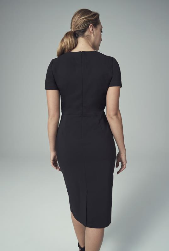 Black Cotton Rich Wrap Suit Dress