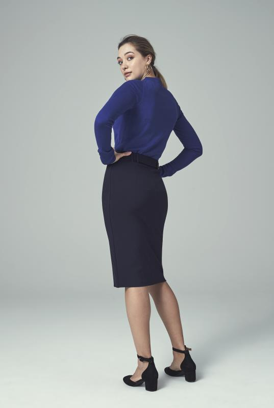 Navy Ponte Suit Skirt