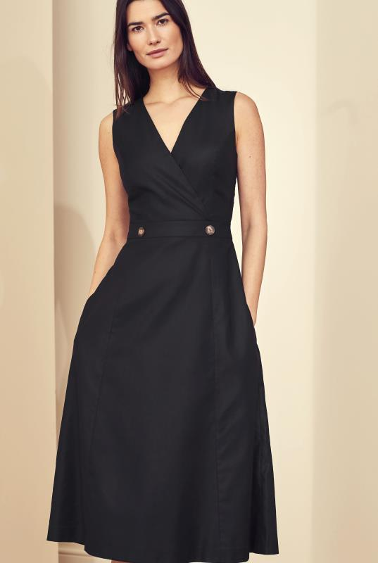 Black Natural Blend Stretch Suit Dress