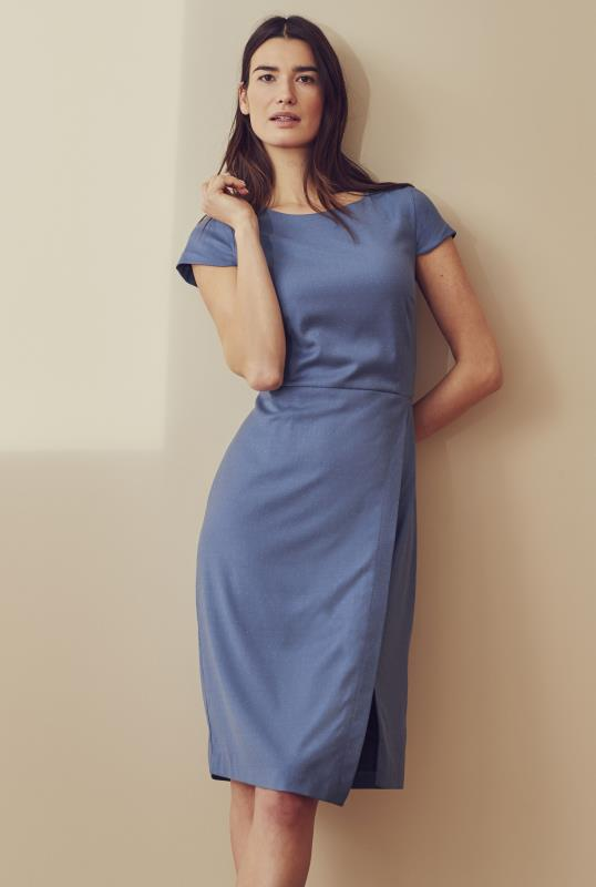 Blue Cap Sleeve Straight Suit Dress