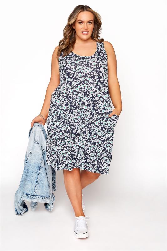 Plus Size  Navy Floral Sleeveless Drape Pocket Dress