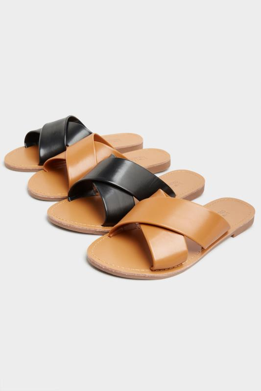 LIMITED COLLECTION Tan Cross Strap Mules In Extra Wide Fit_E.jpg