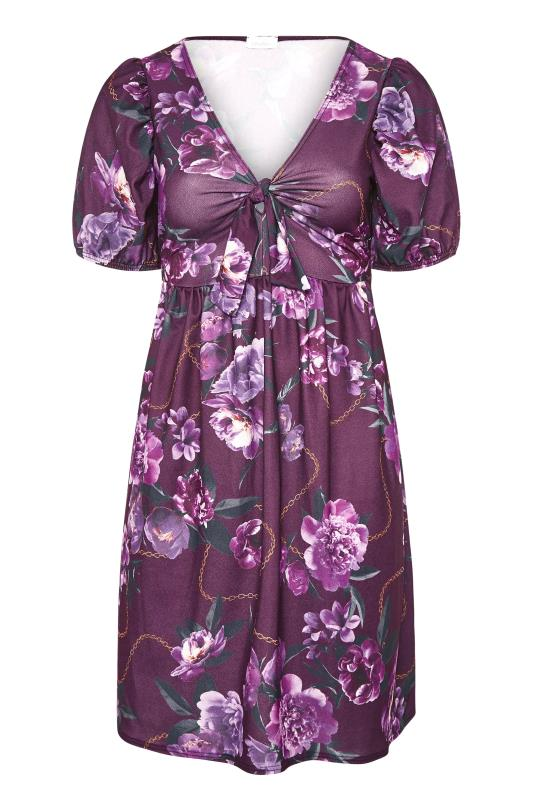 YOURS LONDON Purple Floral Bow Front Dress_F.jpg