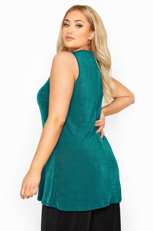 YOURS LONDON Teal Blue Slinky Co-ord Vest Top