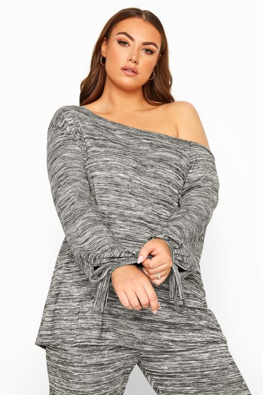 Knitted Tops Grande Taille Grey Marl Off The Shoulder Tie Sleeve Knitted Top